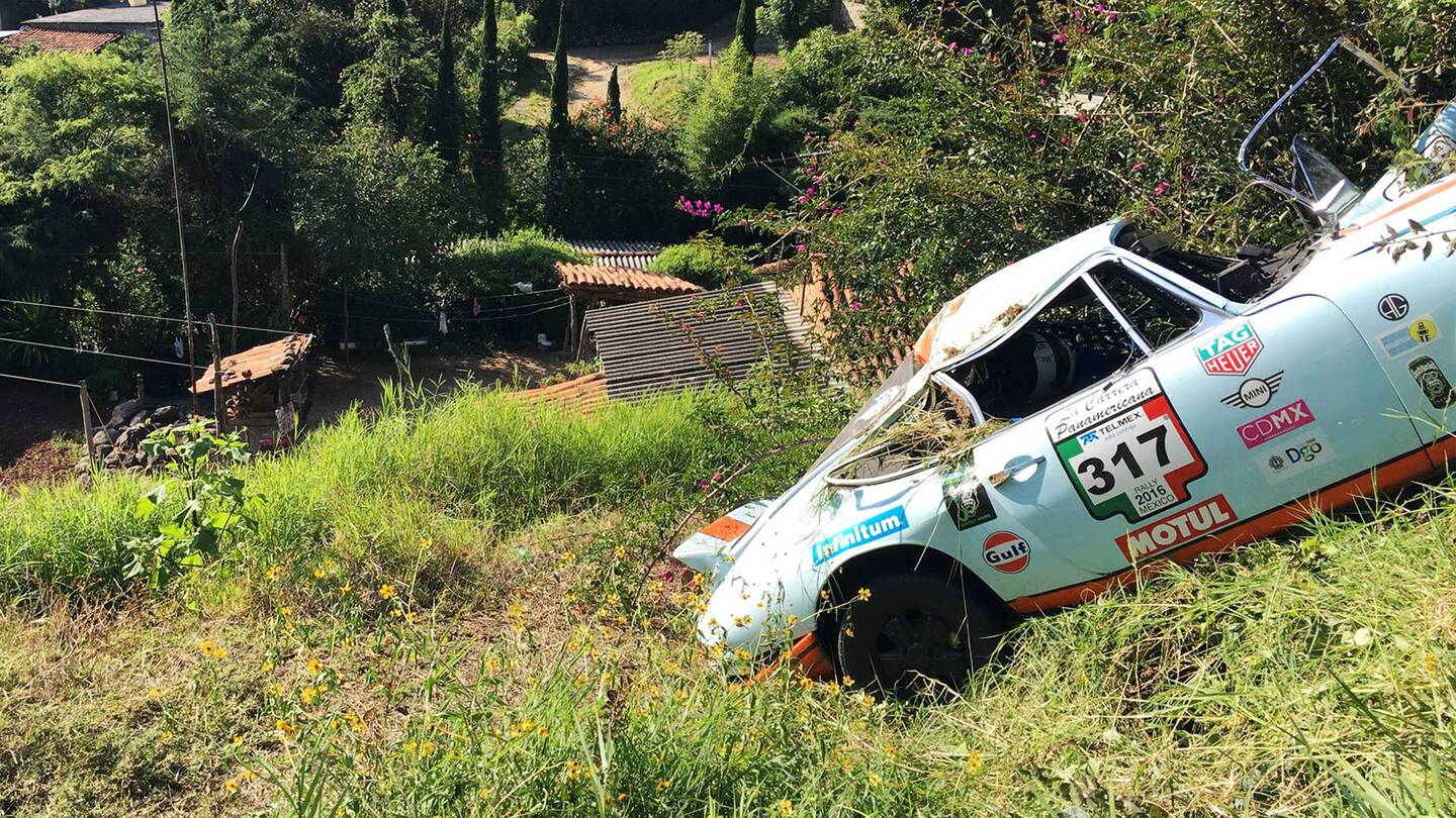 Porsche Rally Crash