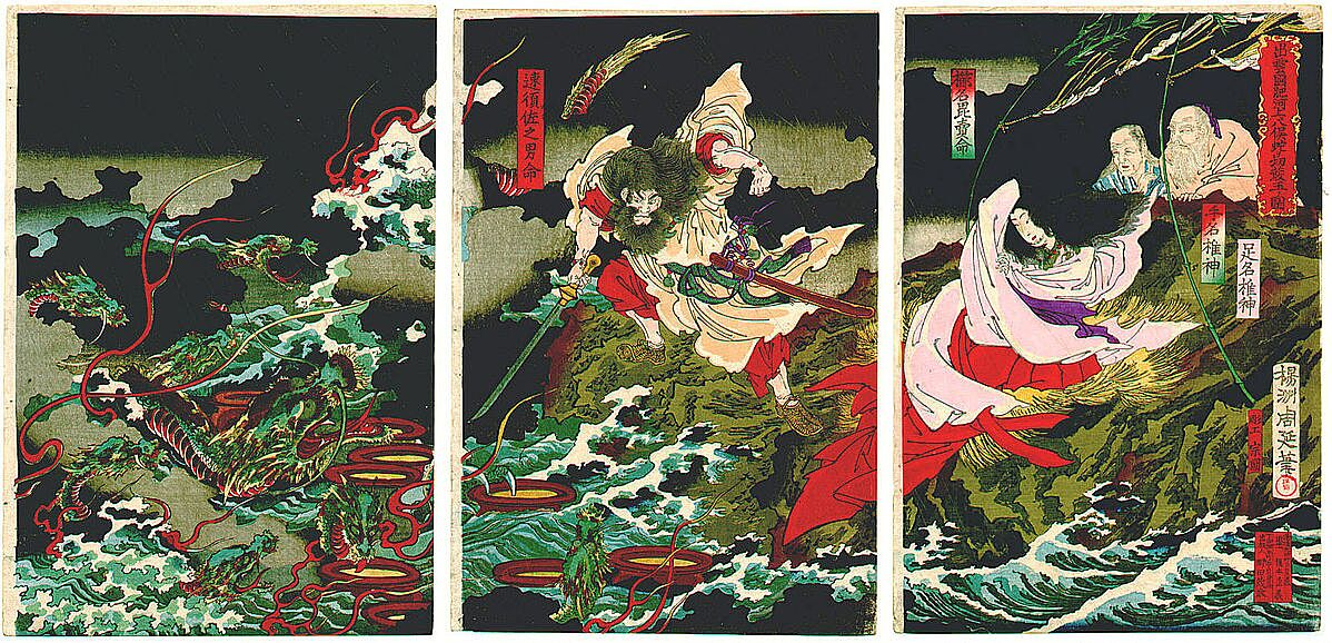 Susanoo Slaying the Yamato no Orochi ca. 1870s by Toyohara Chikanobu - چگونه میتوان یک اژدها را کشت؟ اژدهاکشی در بازی تاج و تخت و افسانه ها