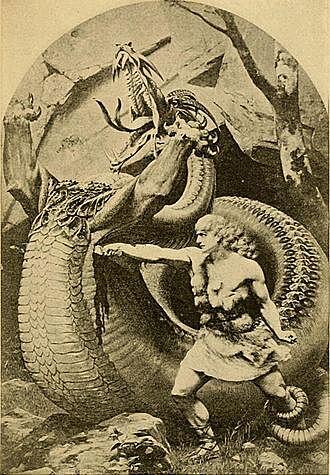Sigurd slaying Fafnir illustration in Old Norse stories 1900 - چگونه میتوان یک اژدها را کشت؟ اژدهاکشی در بازی تاج و تخت و افسانه ها