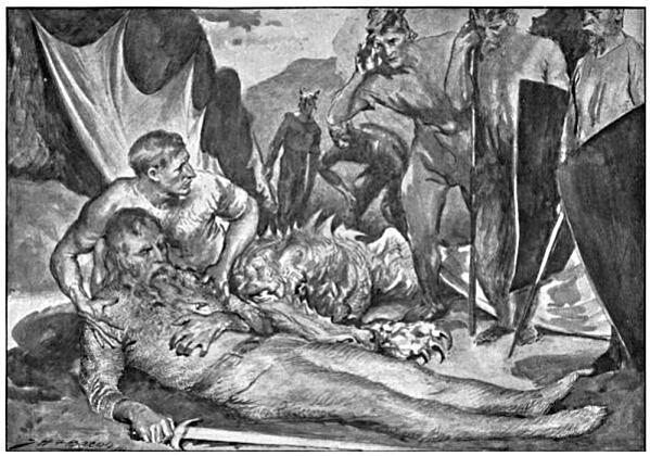 The Death of Beowulf 1910 by John Henry Fredrick Bacon - چگونه میتوان یک اژدها را کشت؟ اژدهاکشی در بازی تاج و تخت و افسانه ها