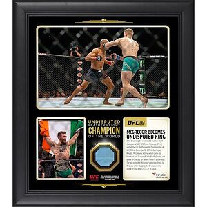 Conor McGregor Authentic Framed 15'' x 17''Collage with a Piece of Canvas From UFC 194