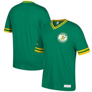 40f86d4b317 Oakland Athletics Mitchell   Ness Overtime Win Vintage V-Neck T-Shirt