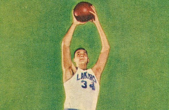 Larry Foust of the Minneapolis Lakers, shown on a 1957 Topps basketball card.