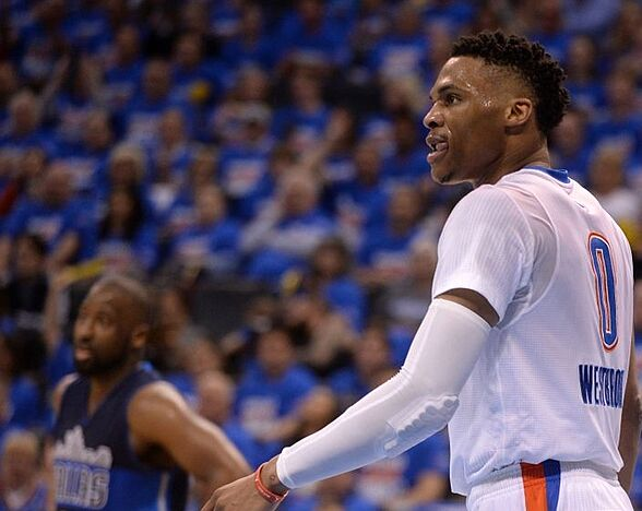 730351f768 Apr 16, 2016; Oklahoma City, OK, USA; Oklahoma City Thunder guard Russell  Westbrook (0) reacts after a play against the Dallas Mavericks during the  third ...