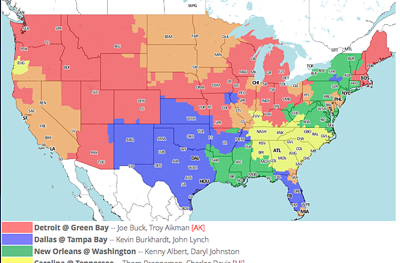 NFL TV Maps for Week 10