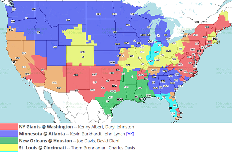 NFL TV Maps for Week 12