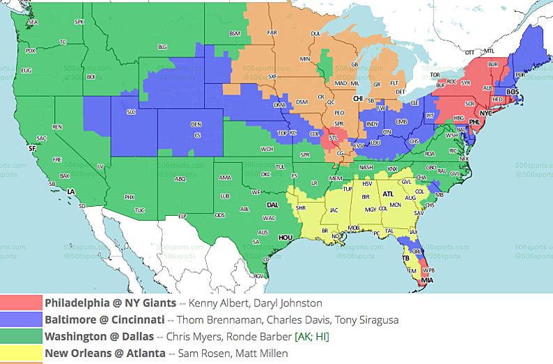 NFL TV Maps for Week 17 Tv Map on