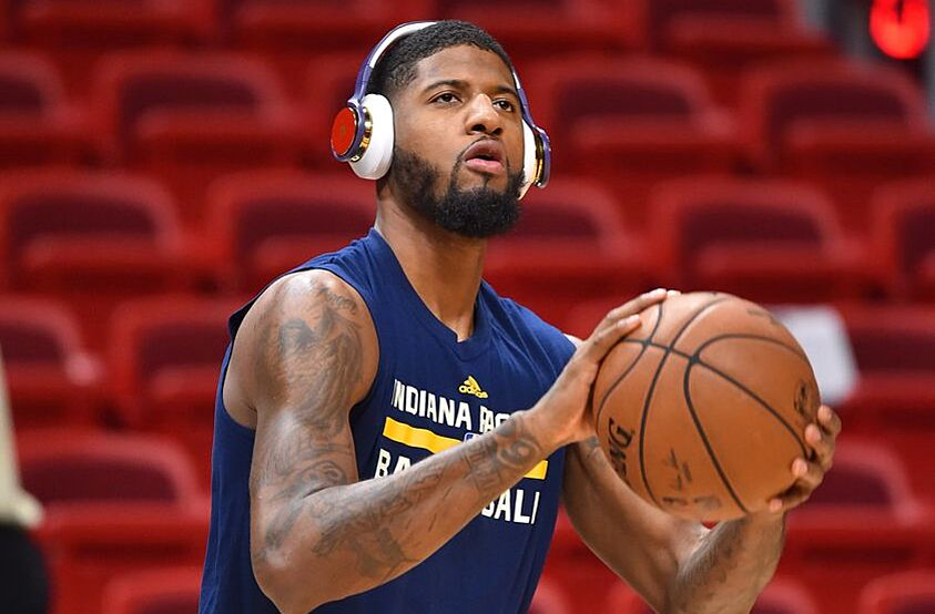 Dec 14, 2016; Miami, FL, USA; Indiana Pacers forward Paul George (13) warms up prior to the game against the Miami Heat at American Airlines Arena. Mandatory Credit: Jasen Vinlove-USA TODAY Sports