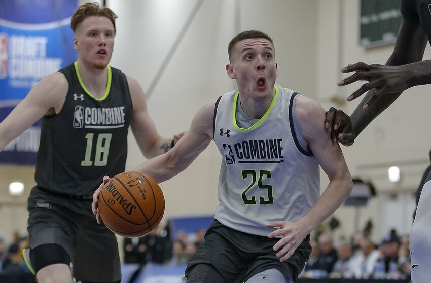 CHICAGO, IL - MAY 17: Kyle Guy of Virginia works out during the 2019 NBA Combine at Quest MultiSport Complex on May 17, 2019 in Chicago, Illinois. (Photo by Michael Hickey/Getty Images)