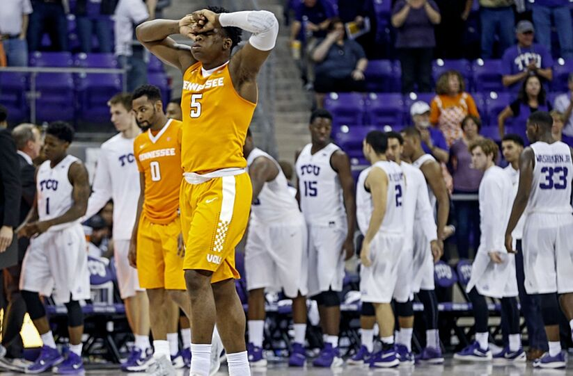 Jan 30, 2016; Fort Worth, TX, USA; Tennessee Volunteers forward Admiral Schofield (5) reacts after the game against the TCU Horned Frogs at Ed and Rae Schollmaier Arena. Mandatory Credit: Kevin Jairaj-USA TODAY Sports