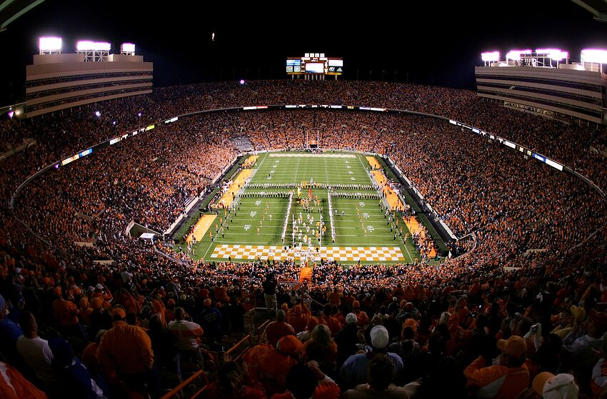 KNOXVILLE, TN - OCTOBER 29: The Tennessee Volunteers run onto the field before the start of their game against the South Carolina Gamecocks on October 29, 2005 at Neyland Stadium in Knoxville, Tennessee. (Photo by Streeter Lecka/Getty Images)