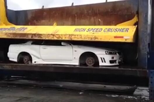 nissan skyline illegally imported r34 gets crushed flat