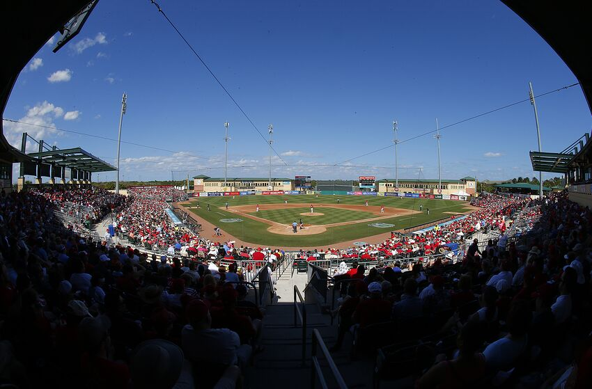JUPITER, FL - MARCH 11: An announced crowd of over 6,000 fans watch the Atlanta Braves play the St. Louis Cardinals during a spring training baseball game at Roger Dean Stadium on March 11, 2017 in Jupiter, Florida. (Photo by Rich Schultz/Getty Images)