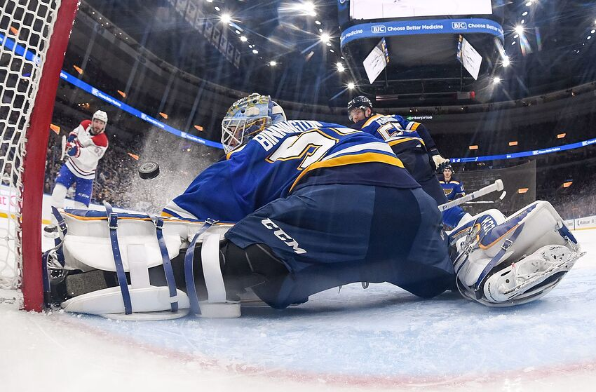 ST. LOUIS, MO - JANUARY 10: Jordan Binnington #50 of the St. Louis Blues makes a save on a shot by Victor Mete #53 of the Montreal Canadiens at Enterprise Center on January 10, 2019 in St. Louis, Missouri. (Photo by Scott Rovak/NHLI via Getty Images)