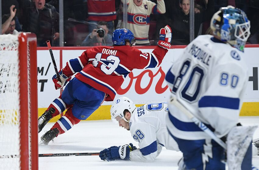 3f7129383ba MONTREAL, QC - APRIL 2: Max Domi #13 of the Montreal Canadiens celebrate