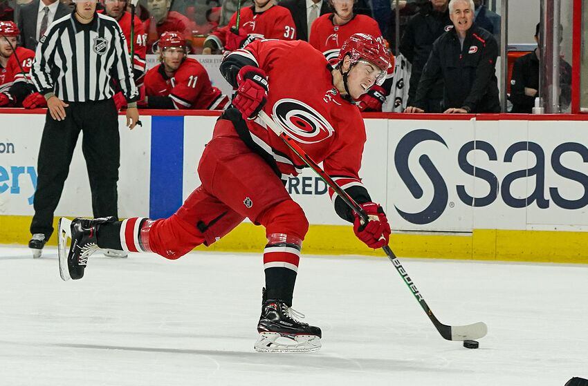 RALEIGH, NC - OCTOBER 06: Carolina Hurricanes Defenceman Haydn Fleury (4) breaks his stick shooting the puck during a game between the Tampa Bay Lightning and the Carolina Hurricanes at the PNC Arena in Raleigh, NC on October 6, 2019.(Photo by Greg Thompson/Icon Sportswire via Getty Images)