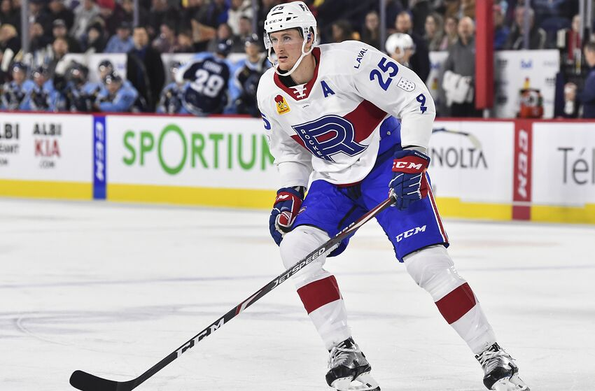 LAVAL, QC - NOVEMBER 15: Michael McCarron #25 of the Laval Rocket skates against the Milwaukee Admirals during the second period at Place Bell on November 15, 2019 in Laval, Canada. The Milwaukee Admirals defeated the Laval Rocket 5-2. (Photo by Minas Panagiotakis/Getty Images)