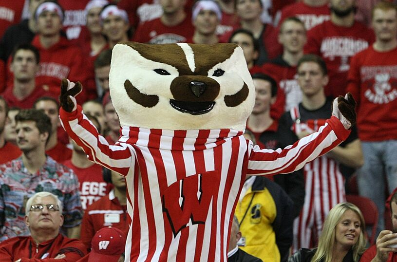 Feb 21, 2016; Madison, WI, USA; Wisconsin Badgers mascot Bucky Badger entertains the fans during the game with the Illinois Fighting Illini at the Kohl Center. Wisconsin defeated Illinois 69-60. Mandatory Credit: Mary Langenfeld-USA TODAY Sports