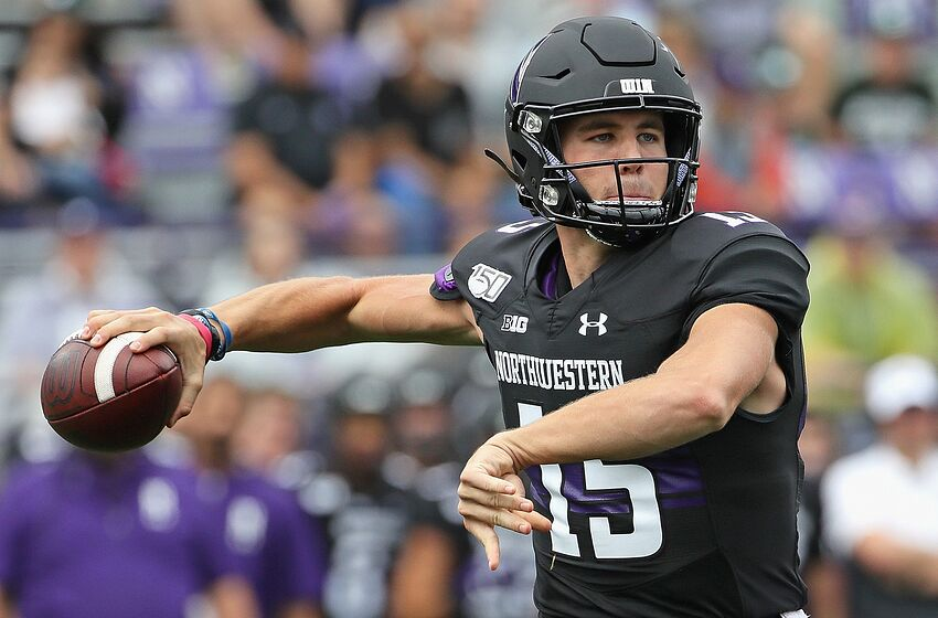 EVANSTON, ILLINOIS - SEPTEMBER 21: Hunter Johnson #15 of the Northwestern Wildcats passes against the Michigan State Spartans at Ryan Field on September 21, 2019 in Evanston, Illinois. (Photo by Jonathan Daniel/Getty Images)