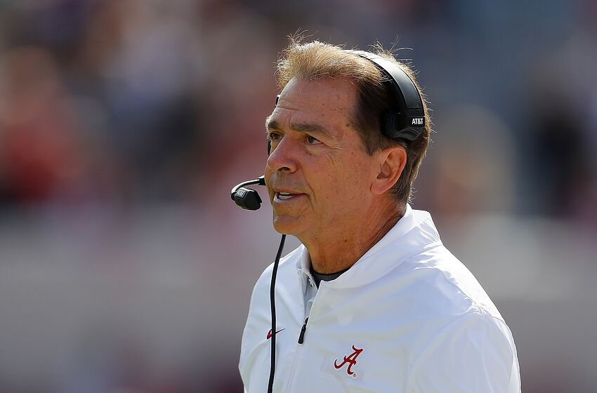 TUSCALOOSA, AL - NOVEMBER 17: Head coach Nick Saban of the Alabama Crimson Tide reacts after a touchdown by the Citadel Bulldogs at Bryant-Denny Stadium on November 17, 2018 in Tuscaloosa, Alabama. (Photo by Kevin C. Cox/Getty Images)