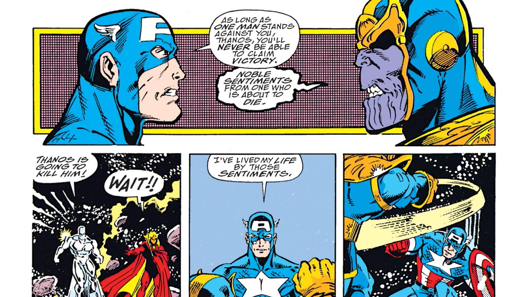 Captain America Battling Thanos In Avengers Infinity War Has Comic Ties