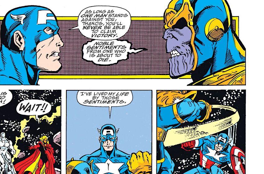captain america battling thanos in avengers: infinity war has comic ties