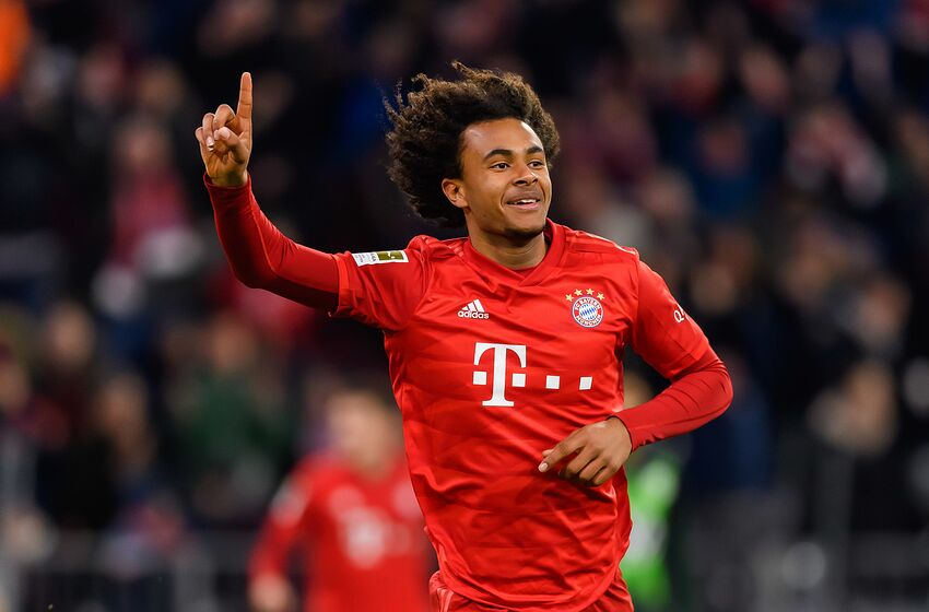 MUNICH, GERMANY - DECEMBER 21: (BILD ZEITUNG OUT) Joshua Zirkzee of FC Bayern Muenchen is celebrating his first goal during the Bundesliga match between FC Bayern Muenchen and VfL Wolfsburg at Allianz Arena on December 21, 2019 in Munich, Germany. (Photo by TF-Images/Getty Images)