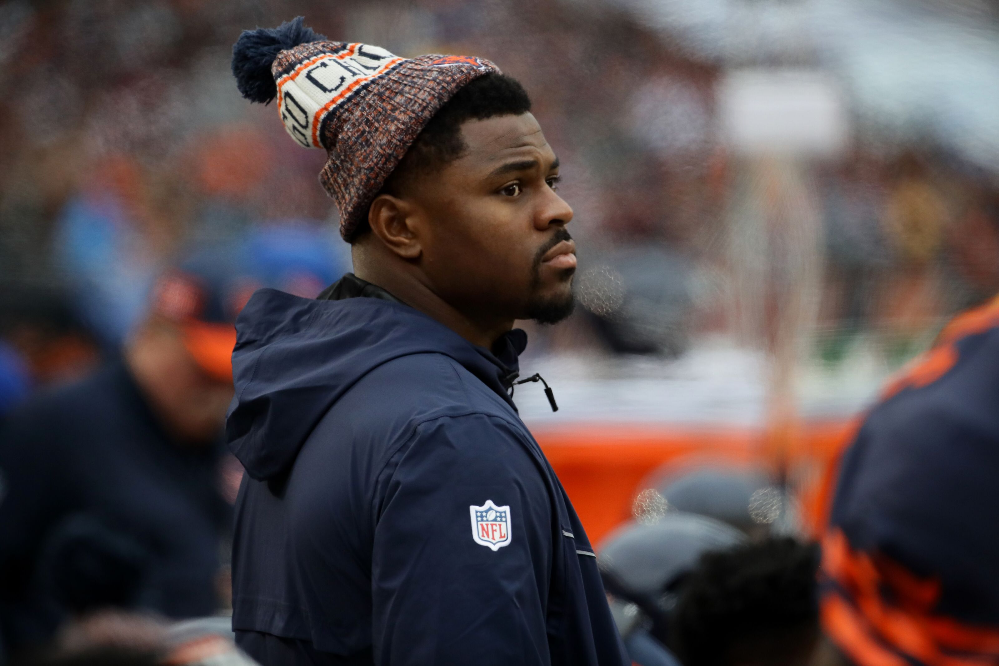 CHICAGO, IL - OCTOBER 28: Khalil Mack #52 of the Chicago Bears stands on the sidelines in the first quarter against the New York Jets at Soldier Field on October 28, 2018 in Chicago, Illinois. (Photo by Jonathan Daniel/Getty Images)