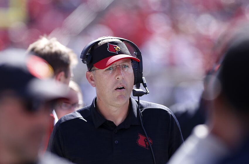 LOUISVILLE, KENTUCKY - OCTOBER 05: Head coach Scott Satterfield of the Louisville Cardinals on the sidelines in the game against the Boston College Eagles during the fourth quarter at Cardinal Stadium on October 05, 2019 in Louisville, Kentucky. (Photo by Justin Casterline/Getty Images)