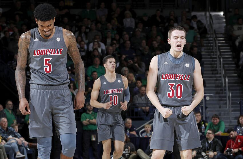 SOUTH BEND, IN - JANUARY 11: Ryan McMahon #30 of the Louisville Cardinals reacts in the first half of the game against the Notre Dame Fighting Irish at Purcell Pavilion on January 11, 2020 in South Bend, Indiana. (Photo by Joe Robbins/Getty Images)
