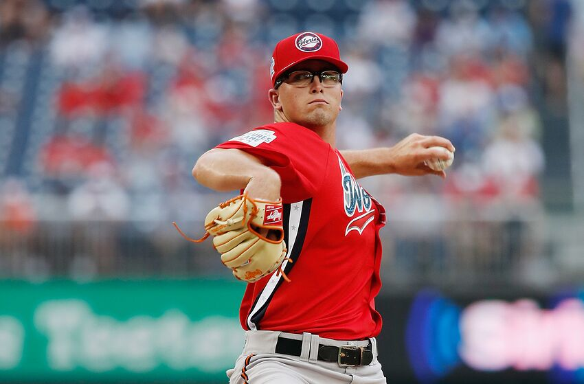WASHINGTON, DC - JULY 15: Alex Wells #31 of the Baltimore Orioles and the World Team pitches against the U.S. Team in the sixth inning during the SiriusXM All-Star Futures Game at Nationals Park on July 15, 2018 in Washington, DC. (Photo by Patrick McDermott/Getty Images)