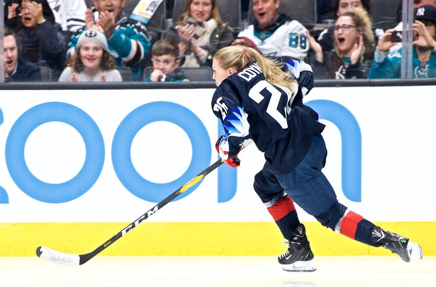 SAN JOSE, CA - JANUARY 25: Kendall Coyne Schofield (26) of the United States Women's National Team in the NHL Fastest Skater at the NHL All-Star Skills Competition on January 25, 2019, at SAP Center in San Jose, CA (Photo by Matt Cohen/Icon Sportswire via Getty Images)