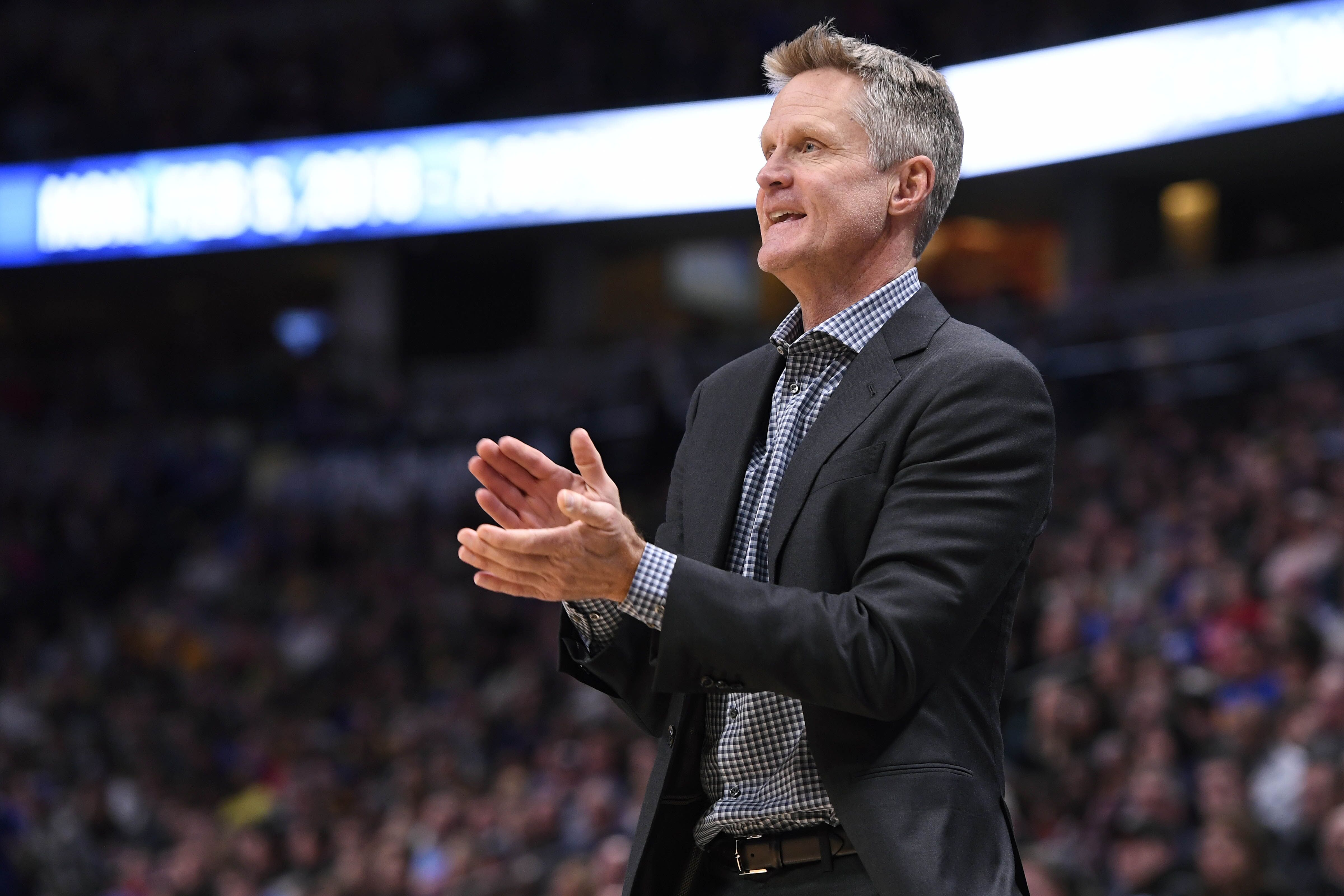 DENVER, CO - FEBRUARY 03: Head Coach Steve Kerr of the Golden State Warriors coaches against the Denver Nuggets at Pepsi Center on February 3, 2018 in Denver, Colorado. NOTE TO USER: User expressly acknowledges and agrees that, by downloading and or using this photograph, User is consenting to the terms and conditions of the Getty Images License Agreement. (Photo by Jamie Schwaberow/Getty Images)