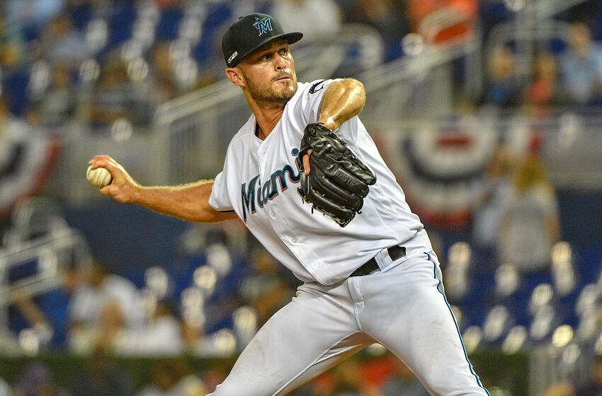 MIAMI, FL - MARCH 28: Austin Brice #37 of the Miami Marlins pitches in the eighth inning against the Colorado Rockies during Opening Day at Marlins Park on March 28, 2019 in Miami, Florida. (Photo by Mark Brown/Getty Images)