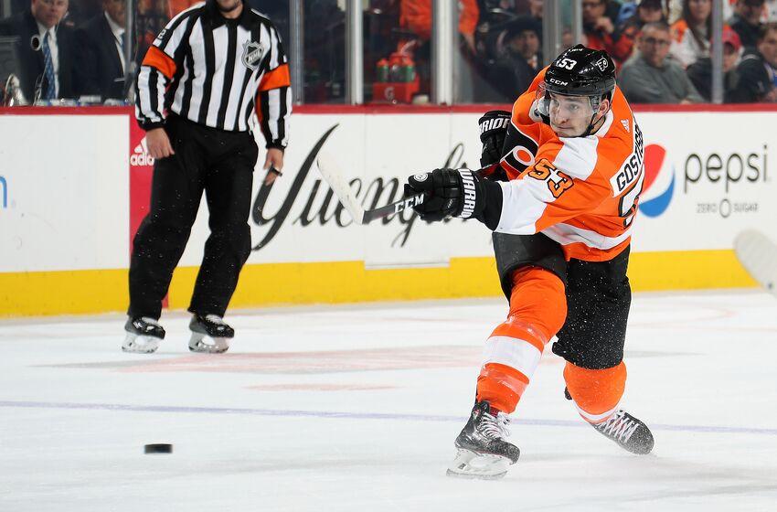 e71a48dbc PHILADELPHIA, PA - OCTOBER 27: Shayne Gostisbehere #53 of the Philadelphia  Flyers shoots