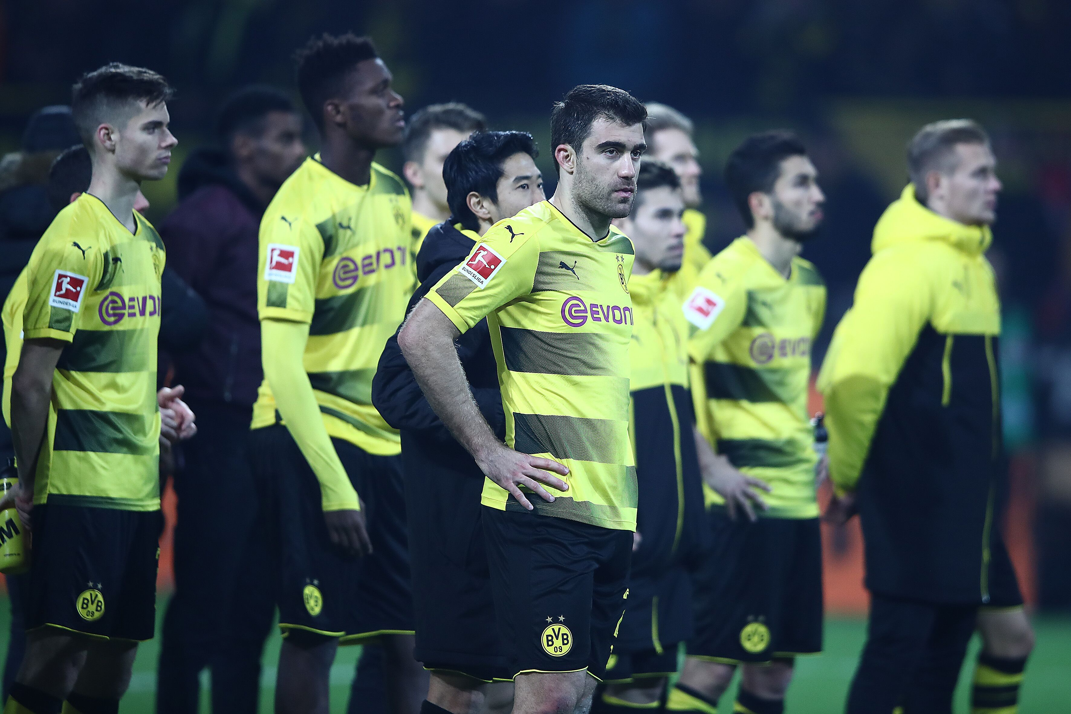 Dortmund Germany November 25 Players Of Dortmund Stand In Front Of Their Fans