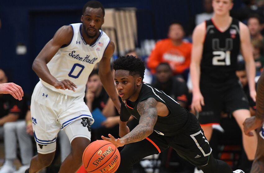 FULLERTON, CA - NOVEMBER 25: Quincy McKnight #0 of the Seton Hall Pirates looks on as Chris Lykes #0 of the Miami Hurricanes reaches for a loose ball during the second half of the Wooden Legacy Championship game at Titan Gym on November 25, 2018 in Fullerton, California. (Photo by Jayne Kamin-Oncea/Getty Images)