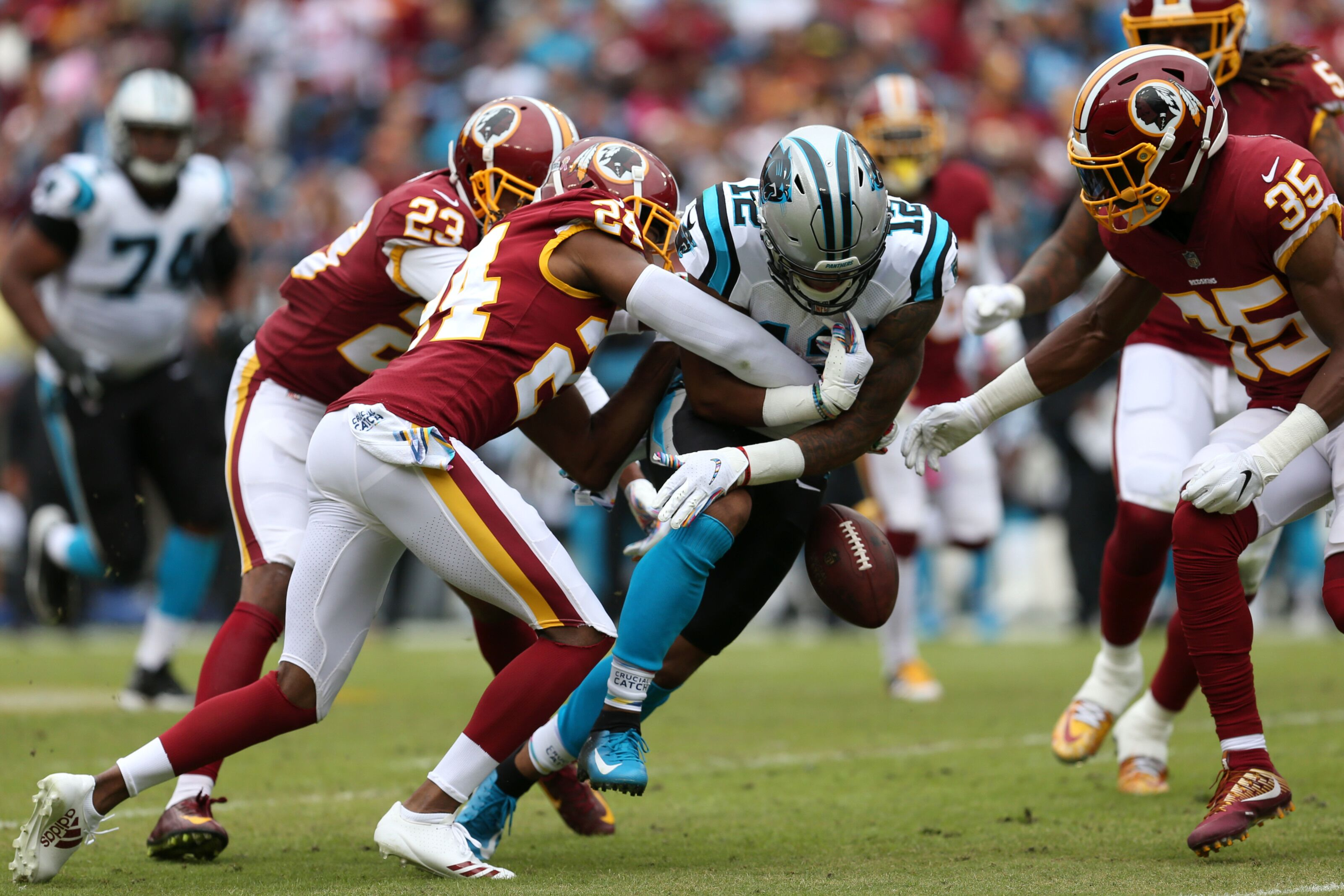 Cam Newton says all the right things in defending D.J. Moore