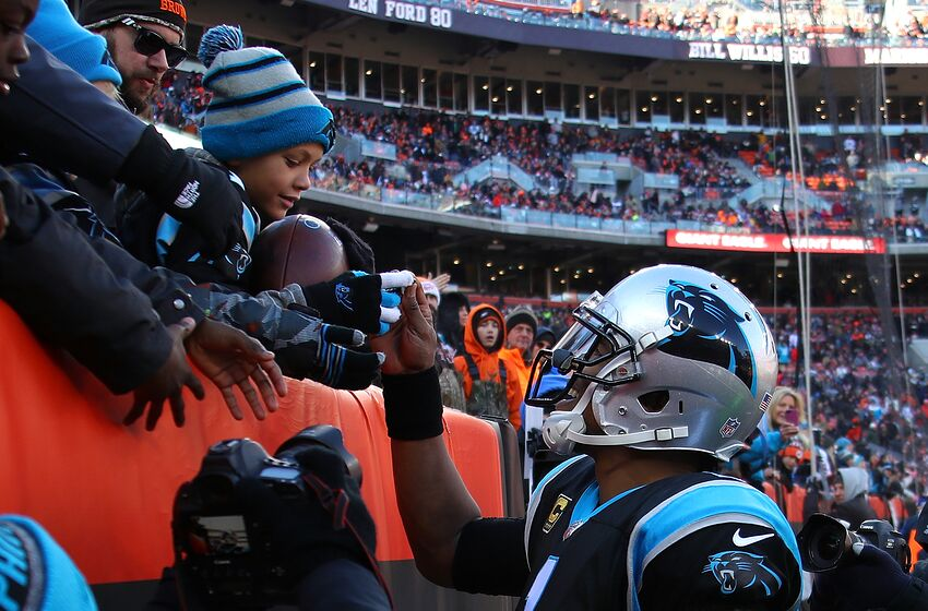 db661a030 CLEVELAND, OH - DECEMBER 09: Cam Newton #1 of the Carolina Panthers gives