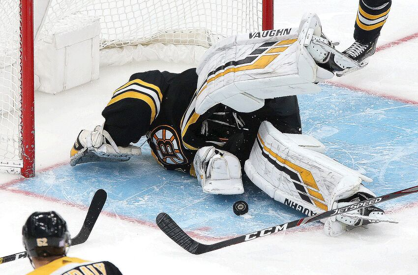 BOSTON - NOVEMBER 21: Boston Bruins goaltender Tuukka Rask (40) makes a diving, sprawling save with the Buffalo Sabres on the power play and the score at 3-1 in the third period. The Boston Bruins host the Buffalo Sabres in a regular season NHL hockey game at TD Garden in Boston on Nov. 21, 2019. (Photo by Barry Chin/The Boston Globe via Getty Images)