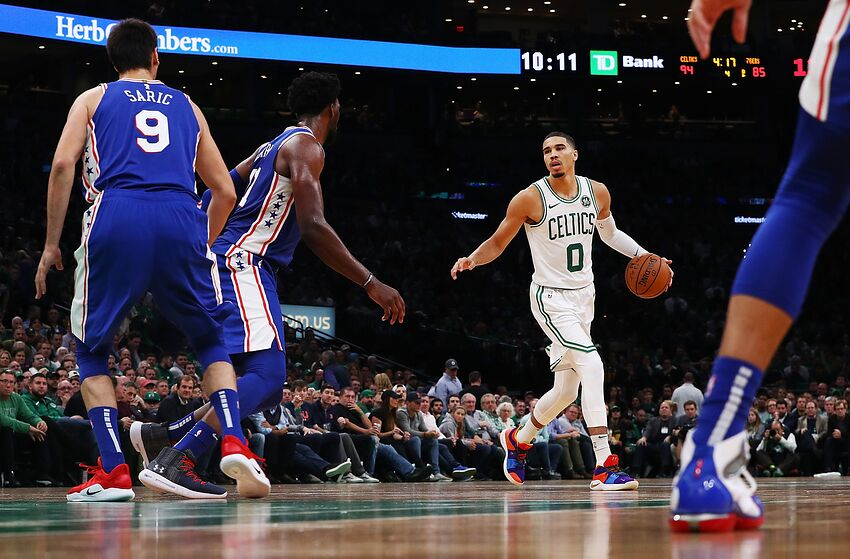 BOSTON, MA - OCTOBER 14: Jayson Tatum #0 of the Boston Celtics dribbles the ball during a game against the Philadelphia 76ers at TD Garden on October 16, 2018 in Boston, Massachusetts. NOTE TO USER: User expressly acknowledges and agrees that, by downloading and or using this photograph, User is consenting to the terms and conditions of the Getty Images License Agreement. (Photo by Adam Glanzman/Getty Images)