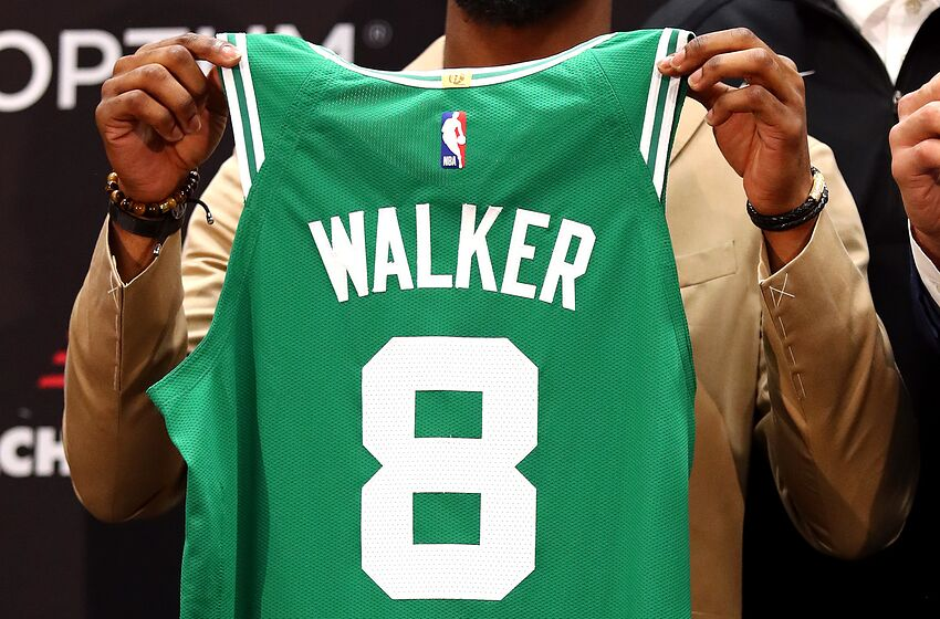 BOSTON, MASSACHUSETTS - JULY 17: A detail as Kemba Walker is introduced as a member of the Boston Celtics during a press conference at the Auerbach Center at New Balance World Headquarters on July 17, 2019 in Boston, Massachusetts. (Photo by Tim Bradbury/Getty Images)