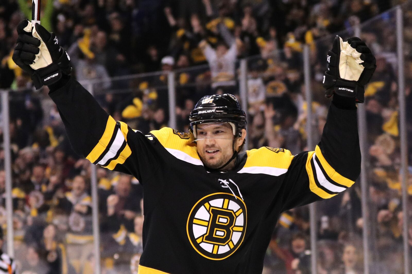 BOSTON, MA - APRIL 14: Rick Nash #61 of the Boston Bruins celebrates after scoring against the Toronto Maple Leafs during the first period of Game Two of the Eastern Conference First Round during the 2018 NHL Stanley Cup Playoffs at TD Garden on April 14, 2018 in Boston, Massachusetts. (Photo by Maddie Meyer/Getty Images)