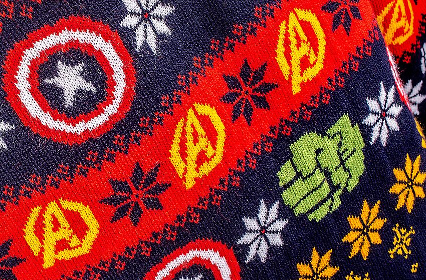 5ca81c87df1 Marvel  Avengers Knitted Christmas Jumper close up. Image via merchoid.com.