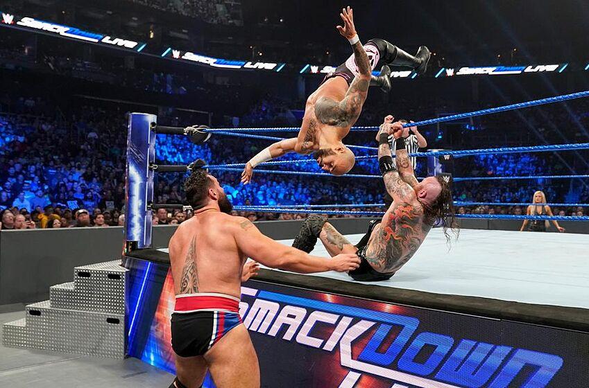 Aleister Black & Ricochet vs. Shinsuke Nakamura & Rusev: © 2019 WWE. All rights reserved