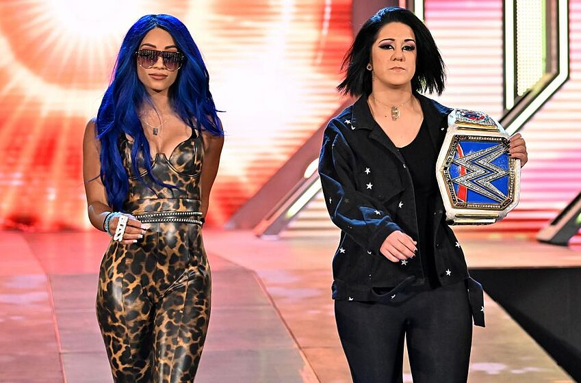 Sasha Banks and Bayley make their way to the ring on the Oct. 25, 2019 edition of WWE Friday Night SmackDown. Photo: WWE.com