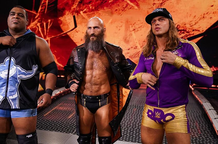 Matt Riddle, Tommaso Ciampa and Keith Lee on the Nov. 6, 2019 edition of WWE NXT. Photo: WWE.com