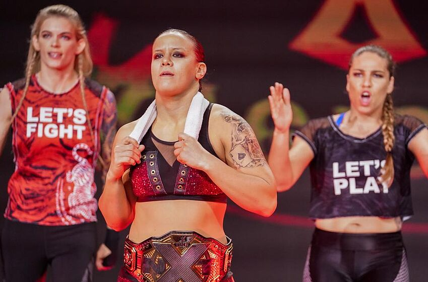 Shayna Baszler, Marina Shafir and Jessamyn Duke on the Nov. 6, 2019 edition of WWE NXT. Photo: WWE.com