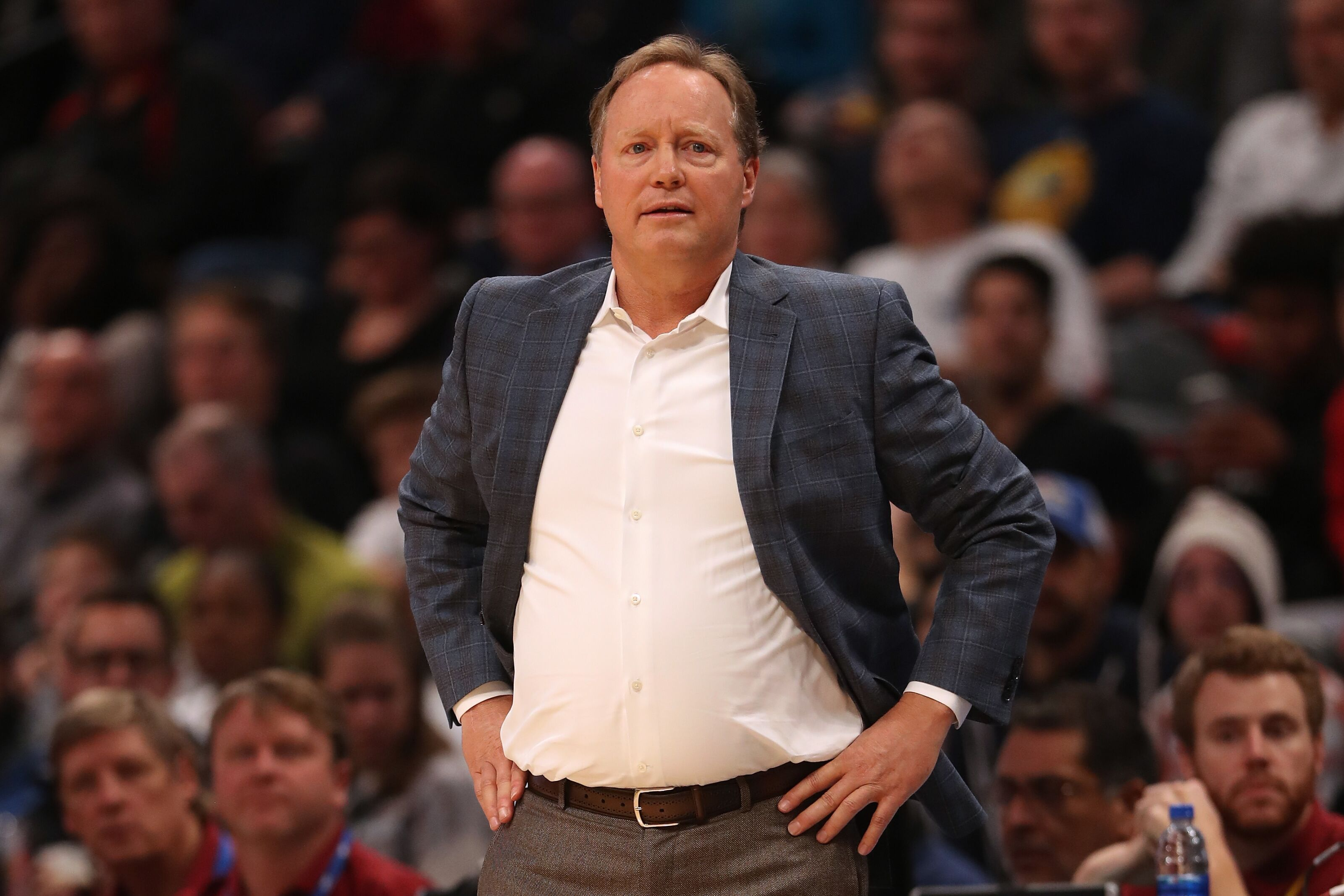 DENVER, CO - NOVEMBER 11: Head coach Mike Budenholzer of the Milwaukee Bucks works the sidelines while playing the Denver Nuggets at the Pepsi Center on November 11, 2018 in Denver, Colorado. NOTE TO USER: User expressly acknowledges and agrees that, by downloading and or using this photograph, User is consenting to the terms and conditions of the Getty Images License Agreement. (Photo by Matthew Stockman/Getty Images)