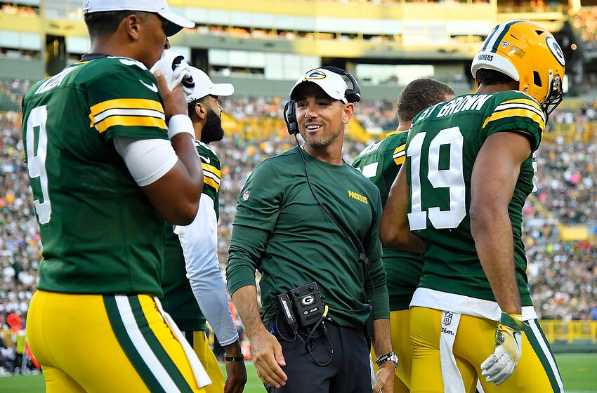 GREEN BAY, WISCONSIN - AUGUST 08: Head coach Matt LaFleur of the Green Bay Packers looks on in the first quarter against the Houston Texans during a preseason game at Lambeau Field on August 08, 2019 in Green Bay, Wisconsin. (Photo by Quinn Harris/Getty Images)